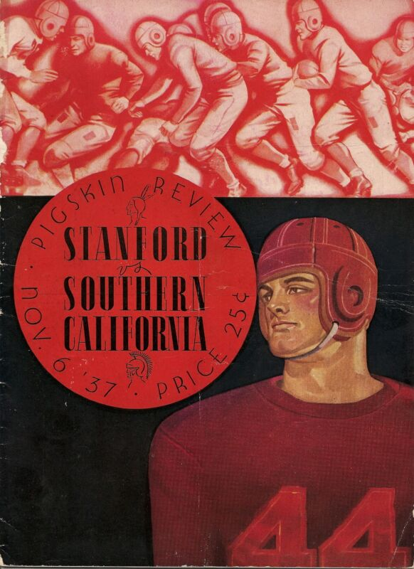 1937 USC Southern California-Stanford Program Indians Win By One RARE!!