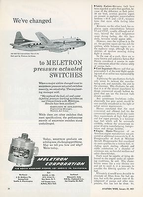 1951 Meletron Switches Ad Western Air Lines Convairliner Airplane Aircraft
