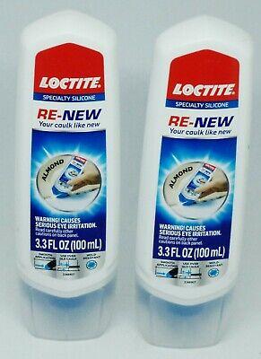 2 Re-new Caulk Loctite Kitchen Bath 3.3 Oz Tube Silicone Sealant Tube Almond
