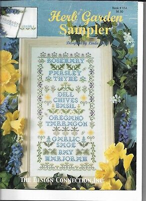 Design Connection HERB GARDEN SAMPLER PATTERN,Book #114, 6.5 X 13.25
