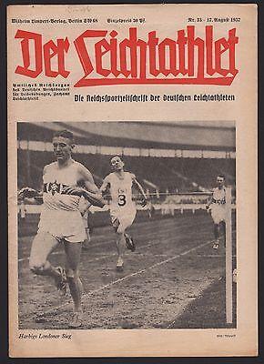 """""""Der Leichtathlet"""" Nr. 33/1937, Titel: Harbigs Londoner Sieg"""