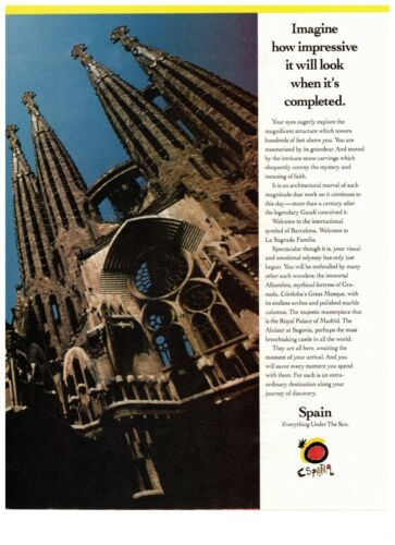 1990 Spain Barcelona La Sagrada Cathedral Travel Vintage Print Advertisement