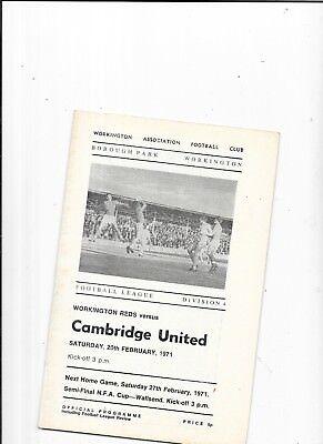 Workington v Cambridge United  20/2/1971 1st League season