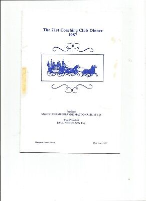 The 71st Coaching Club Dinner 1987 Menu and Toast List