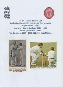 IAN BOTHAM SOMERSET & ENGLAND TEST CRICKETER 1977-1992 ORIGINAL HAND SIGNED PIC