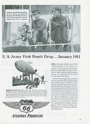 1951 Phillips 66 Aviation Ad First Bomb Dropped From Airplane in 1911 History