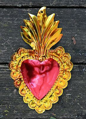 Mexico Tin Milagros Ornaments Sacred Heart Flames Valentines Love Token Folk Art