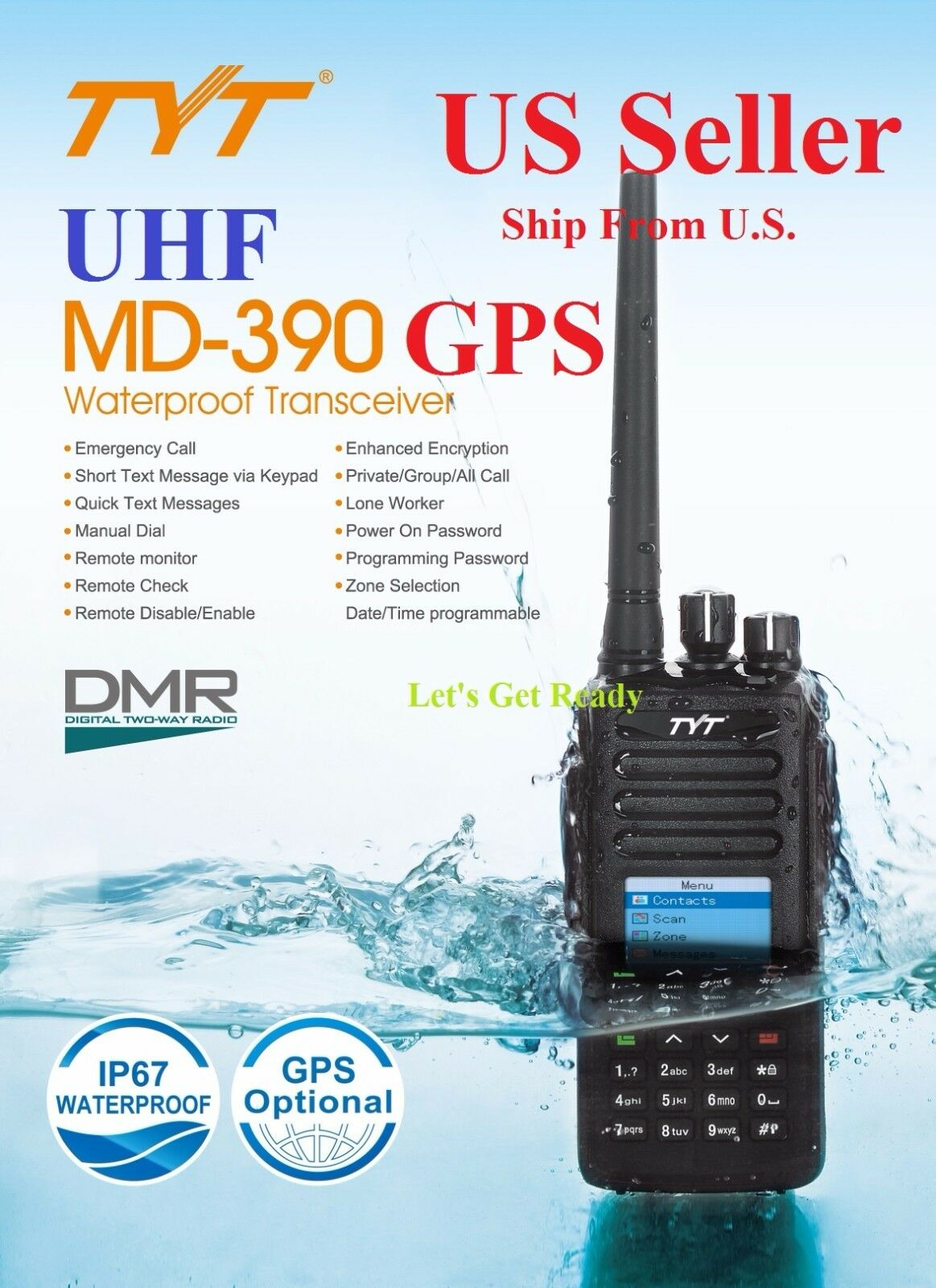 TYT MD 390 with GPS UHF DMR Digital Radio Free Software