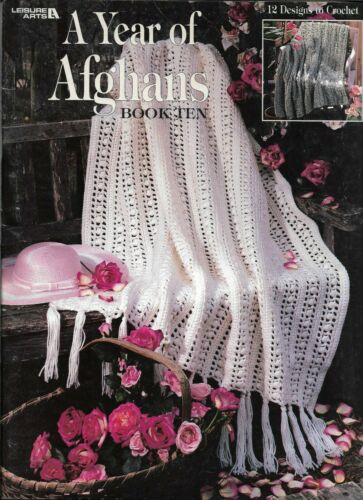 USED A YEAR OF AFGHANS BOOK TEN 12 DESIGNS LEISURE ARTS CROCHET PATTERN BOOK HTF