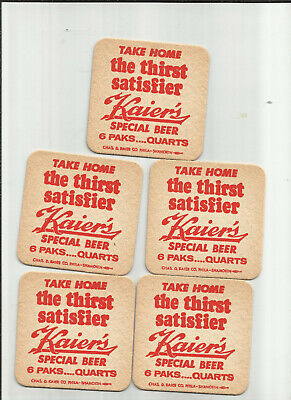 """Lot of 5 Kaier's Special Beer Mahanoy City, PA  #009-""""The Thirst Satisfier"""""""