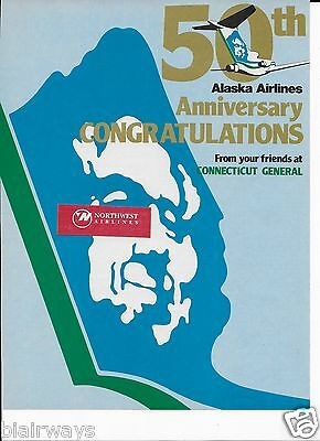 Alaska Airlines 1982 Congratulations On 50Th Anniversary 727 Cigna Insurance Ad