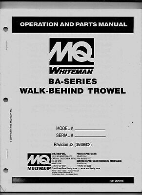 Mq Power - Whiteman Ba-series Walk-behind Trowel - Operation Parts Manual