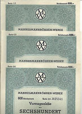 3er Set MM-Werke Vorzugsktien von 1938, Ausgabewert 600 Mark, Serie 8, 9 und 10