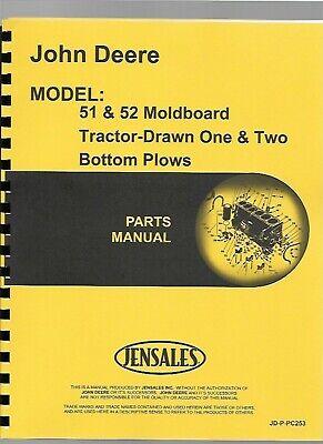 John Deere 51 52 Moldboard Tractor Drawn 1 2 Bottom Plow Parts Manual Catalog