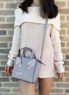 Kate Spade Hop To It Bunny Mini Hayden Satchel Crossbody Nouveau Neutral Gray