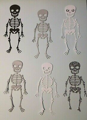- SKELETONS HALLOWEEN GLITTERED + SOME WITH WIGGLE EYES DIE CUTS 4 to 8 PCS