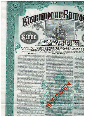 Kingdom of Roumania, Loan 1922, 1000$, SPECIMEN, TOP-RARE