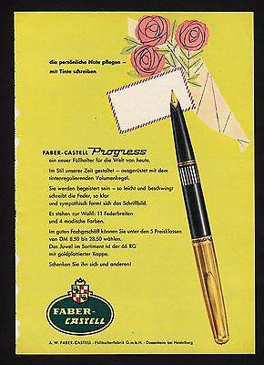 3w1652/ Alte Reklame von 1960 - Füllhalter von FABER-CASTELL - Dossenheim