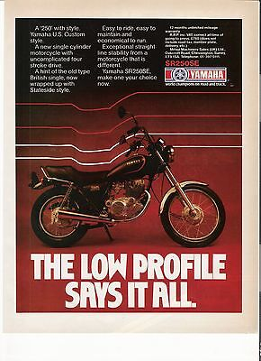 Yamaha SR250SE classic motorcycle period advert 1981