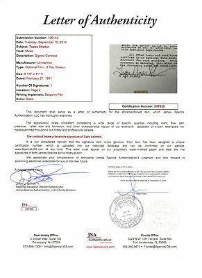 "Tupac Shakur 2Pac Signed ""Juice"" Contract - JSA Authenticated"