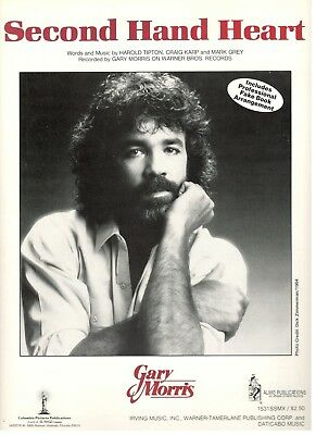 """GARY MORRIS """"SECOND HAND HEART"""" SHEET MUSIC-PIANO/VOCAL/GUITAR/CHORDS-1983-NEW!! for sale  Shipping to South Africa"""