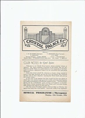 Crystal Palace v Leyton Orient 15 October 1956 Friendly Four Page