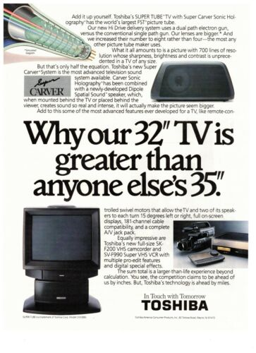 1990 Toshiba 32 Inch Super Carver System Television Vintage Print Advertisement