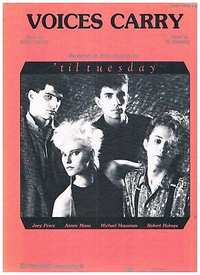 """'TIL TUESDAY """"VOICES CARRY"""" SHEET MUSIC-PIANO/VOCAL/GUITAR-RARE-NEW ON SALE-MINT"""