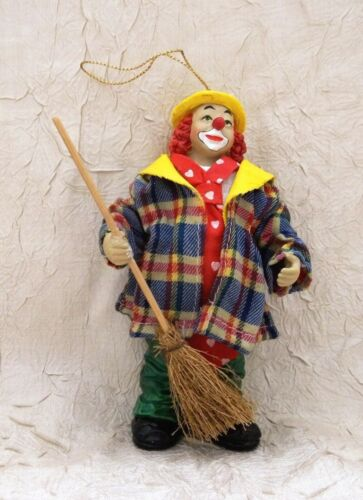 Clown With A Broom Exquisite Christmas Ornament Holiday