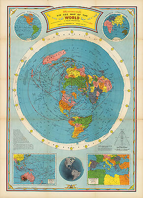 1946 Flat Earth Air Age Map Of The World Azimuthal Equidistant Polar Projection