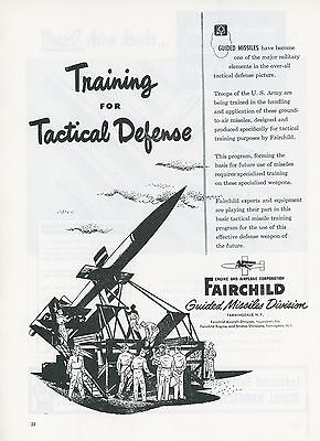 1951 Fairchild Aircraft Ad US Army Guided Missile Tactical Defense