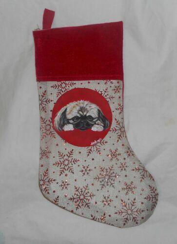 Pekingese Dog Hand Painted Christmas Gift Stocking Holiday Decoration