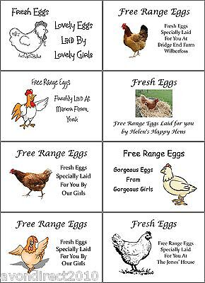LARGE PERSONALISED CHICKEN HEN EGG BOX LABELS 8 Per Sheet