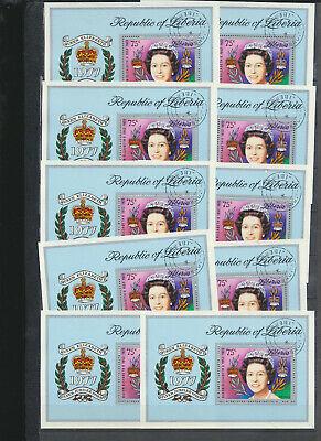 Liberia Queen Elizabeth 1977 Silver Jubilee Souv Sheet Wholesale Lot of TEN C221