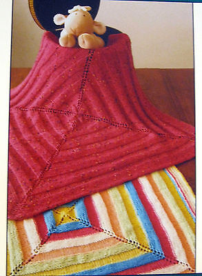 QUAKER RIBBONS BABY BLANKET to KNIT in FINGERING SPORT or WORSTED WEIGHT  YARNS