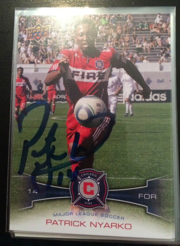Chicago Fire Patrick Nyarko Autographed Signed 2012 MLS UD Upper Deck Card