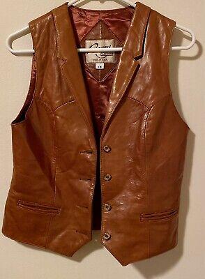 Vtg Western REMY Women's Brown Leather Vest Cognac Steampunk Cosplay Sz 10