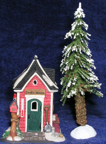 Christmas Village SmokeHouse w Winter Tree 2 Pc Accessory Set Glitter Mint Cond