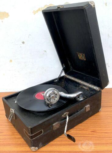 Collectible Portable Phonograph HMV 303 Model Suitcase Original Old Gramophone.