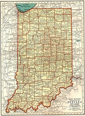 1939 Vintage INDIANA Map Collectible State Map of Indiana Gallery Wall Art 4715