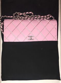 Chanel Pink Caviar Wallet on Chain - Silver Hardware AUTHENTIC