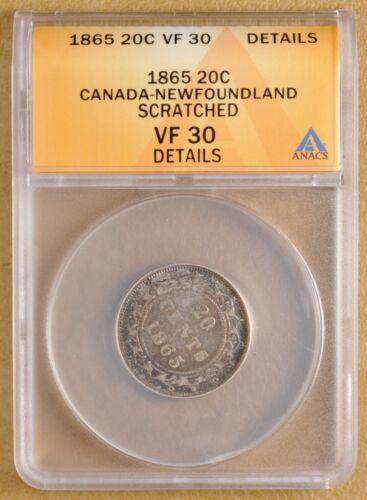 1865 Canada Newfoundland Silver 20 Cents ANACS VF 30 Details
