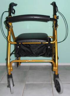 GOLD COLOURED ROLLATOR / WHEELY / WHEELIE WALKER - VGC