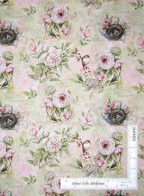 Bird Nest Rose Divine Garden Friends Cotton Fabric Springs CP57835 By The Yard
