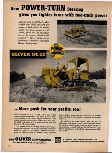 1956 Oliver Tractors Ad: Oliver OC-12 w/ Power Turn Steering - Chicago, Illinois