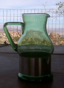 ATOMIC-ERA-MID-CENTURY-GREEN-GLASS-PITCHER-VINTAGE-DANISH-MODERN-HAND-BLOWN