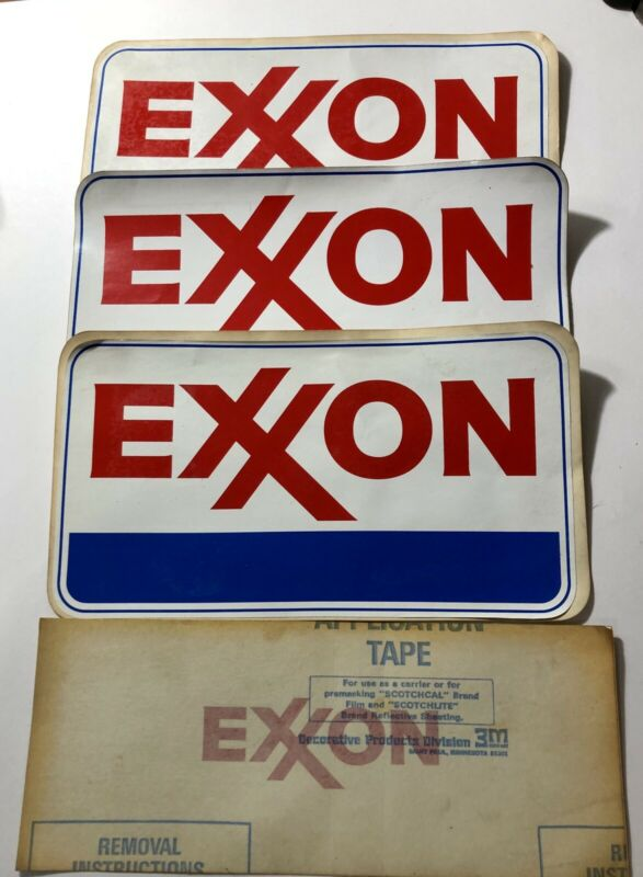 LOT OF VINTAGE EXXON STICKERS DECALS FOR TOOL BOX GAS PUMP CAR