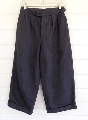 MHL MARGARET HOWELL High Rise Wide Legged Cropped Heavy Cotton Pants Navy -XS