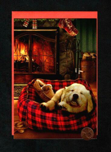 Christmas GIORDANO Golden Retriever Dog Fireplace Greeting Card New W/ TRACKING