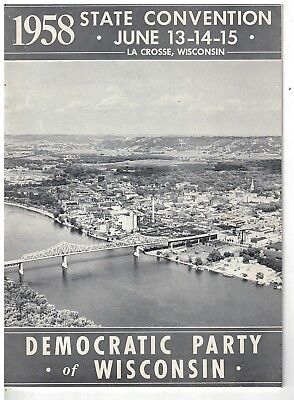 1958 Wisconsin Democratic State Convention Program + Banquet Program & Menu